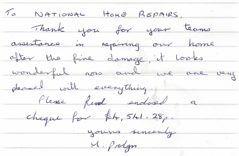 Customer feedback following a fire restoration project